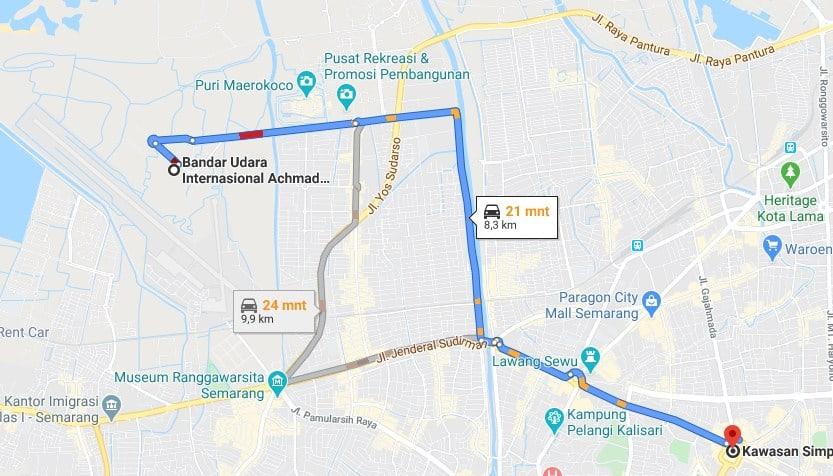 Ilustrasi jarak bandara Ahmad Yani Ke Pusat Kota Semarang